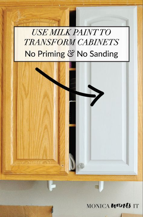 diy home improvement This DIY tutorial teaches you how to transform kitchen or bathroom cabinets with milk paint, which requires no sanding or priming. Architecture Renovation, Home Renovation, Home Remodeling, Kitchen Ikea, New Kitchen Cabinets, Kitchen Paint, Smart Kitchen, Cheap Kitchen, Basement Kitchen
