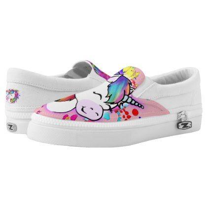 Happy Unicorn Slip On Shoes - #womens
