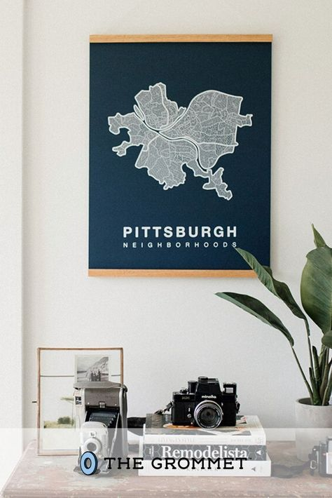 This city neighborhood map art honors a beloved locale in a charming and authentic way. Highlighting research-driven details with a true local feel, each map is hand printed with non-toxic, water-based inks on acid-free paper. Made in Tennessee, USA. Great cure to homesickness or just to represent your hometown.