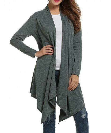 Women Loose Draped Open Front Mid-long Lightweight Spring Cardigan Sweater - Green - CX12N1IRD6K,Women's Clothing, Sweaters, Cardigans  #Sweaters #outfits #style #fashion #Cardigans