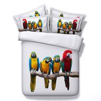 New Arrival Colorful 3d Parrot Digital Printing 4 Pcs Duvet Cover