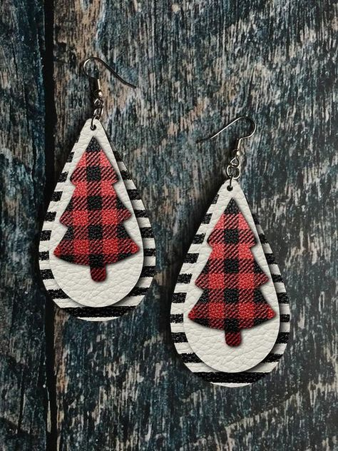 Red Buffalo Plaid and Striped Leather Look Christmas Tree Drop Earring Sublimation Design - Red Buffalo Plaid and Striped Leather Look Christmas Tree Drop Earring Sublimation Design - Diy Leather Earrings, Diy Earrings, Teardrop Earrings, Handmade Notebook, Handmade Books, Christmas Earrings, Leather Books, Leather Journal, E Design