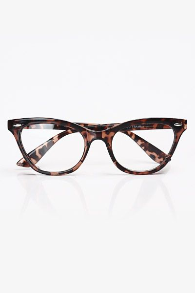 Solid Frame Clear Cat Eye Glasses - Tortoise #1030-1