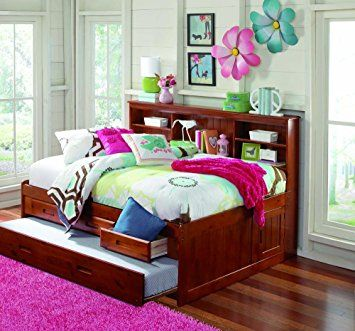 Merlot Full Captain Bookcase Daybed With 3 Drawers Storage Trundle