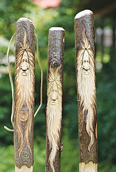 Walking sticks by Allen Goodman, a Woodcarving instructor at the John C. Holzschnitzen , Walking sticks by Allen Goodman, a Woodcarving instructor at the John C. Walking sticks by Allen Goodman, a Woodcarving instructor at the J. Wood Carving Patterns, Wood Carving Art, Wood Patterns, Wood Art, Wood Carvings, Dremel Carving, Chainsaw Carvings, Wooden Walking Sticks, Walking Sticks And Canes