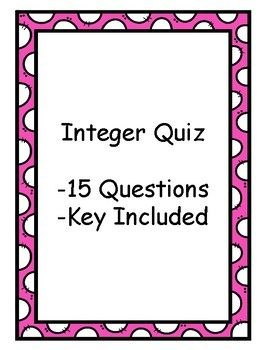 Integer Quiz - Key Included - Middle School | Math 3-5 | Pinterest