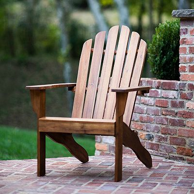 Brown Acacia Wood Adirondack Outdoor Armchair In 2020 Outdoor