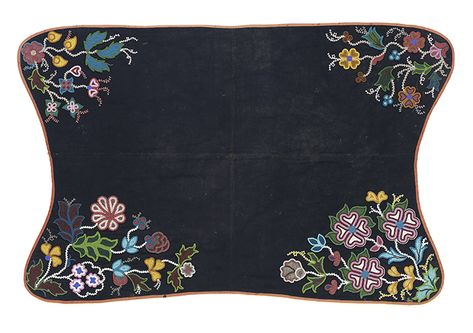 Woods Cree saddle blanket, ca. 1885. Canada. Seed beads, ribbon, wool cloth, cotton cloth, and thread.