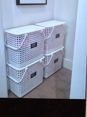 White Like It Baskets Stacked Laundry Room Laundry Basket