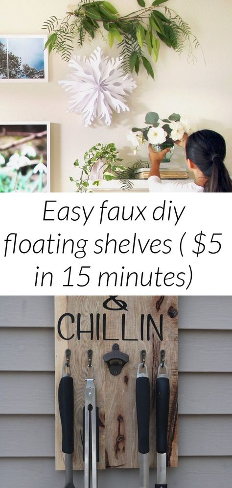 Easy faux diy floating shelves (  in 15 minutes)