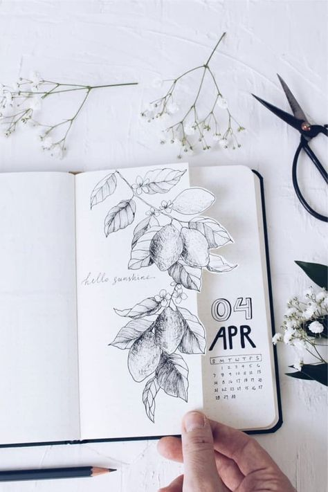 Check out the best bullet journal monthly cover spread ideas for April! Birthday Bullet Journal, Bullet Journal Travel, Bullet Journal Notebook, Bullet Journal School, Bullet Journal Ideas Pages, Bullet Journal Inspiration, Bullet Journal Aesthetic, Scrapbook Journal, Illustration