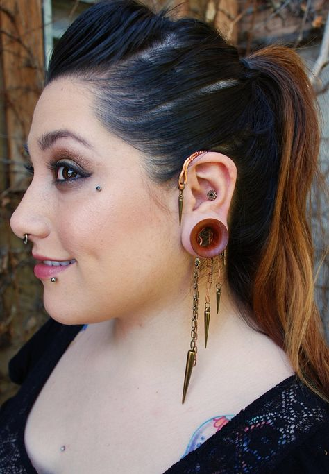 Behind the Ear Cuff in Copper with Mixed Chain and by PeachTreats