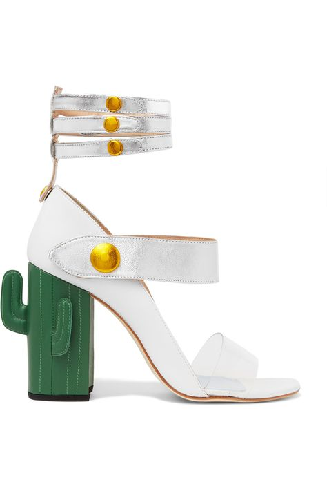 MR BY MAN REPELLER Cactus Heel Perspex-trimmed metallic leather sandals