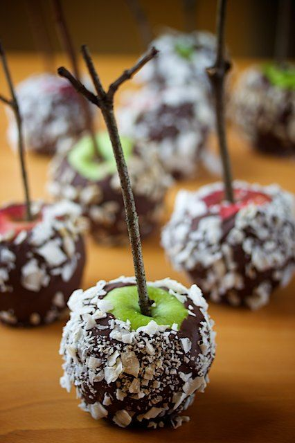 chocolate dipped apples....