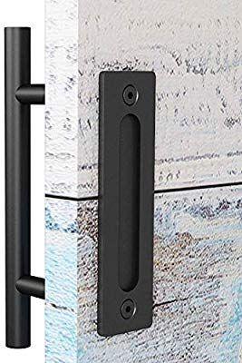 Easelife 12 Inch Sliding Barn Door Handle With Flush Finger Pull Ultra Sturdy Black Powder Coated Fini In 2020 Barn Door Handles Barn Door Hardware Sliding Barn Door