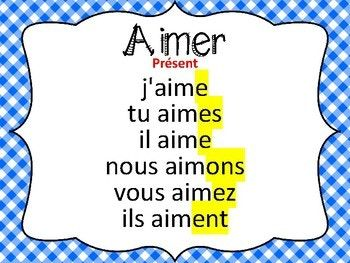 Cartes A Taches Verbe Aimer Au Present De L Indicatif French Verbs French Lessons Teaching French