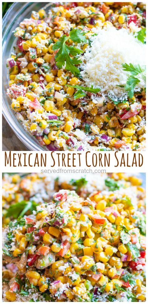 This Mexican Street Corn Salad turns a classic Mexican street food item into a delicious and easy to make side dish! This Mexican Street Corn Salad turns the classic Mexican street food into a delicious and easy to make side dish! Authentic Mexican Recipes, Italian Recipes, Easy Mexican Food Recipes, Mexican Street Corn Salad, Mexican Street Food, Best Mexican Street Corn Recipe, Vegetarian Recipes, Cooking Recipes, Healthy Recipes