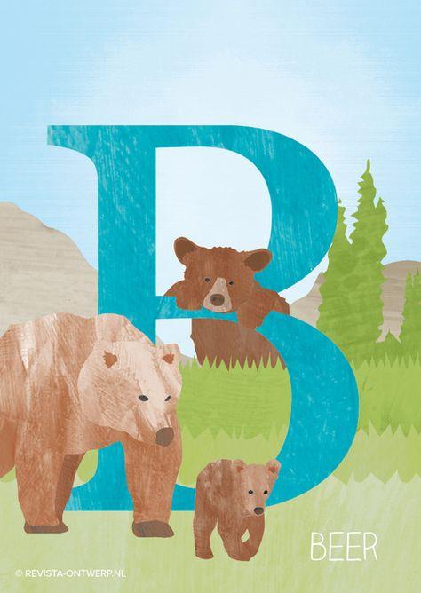 De B is van beer! Als hij geboren wordt is hij heel klein (300 tot 500 gram), maar als hij volwassen is kan hij wel een paar honderd kilo worden!