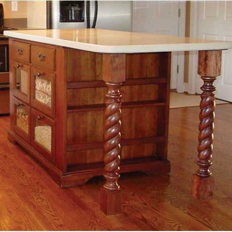 35 1 4 High Full Round Island Legs Wooden Island Wooden Kitchen American Hardwood