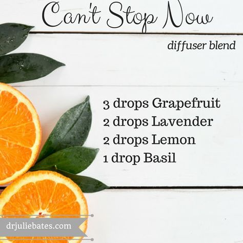 This can't stop now motivation blend combines the soothing scent of Lavender, the uplifting properties of Grapefruit, the stimulating aroma of Lemon, and the mental alertness qualities of Basil.  Diffuse this blend in the afternoon when you want to grab that afternoon coffee or box of chocolates. #essentialoils #essentialoilblends
