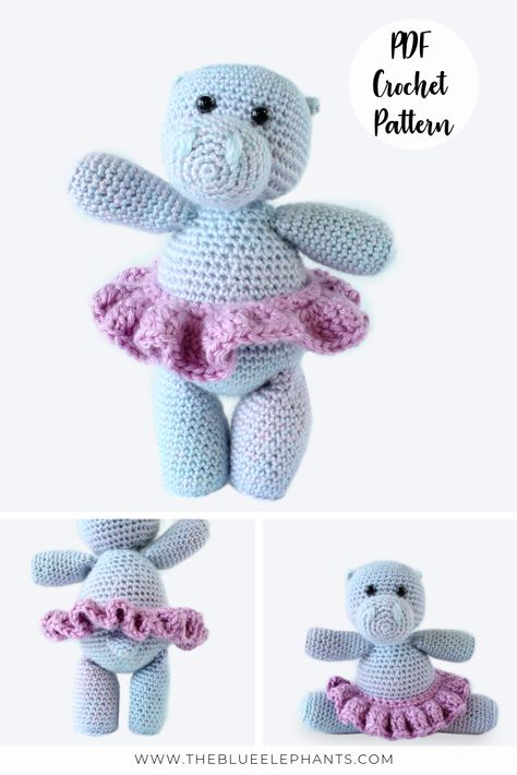 Happy Hippo Family Toy Annie/'s Crochet PATTERN//INSTRUCTIONS NEW