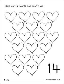 number 14 coloring worksheet for children | Numbers ...