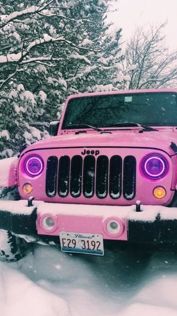 pink Jeep in the snow Auto Jeep, Bugatti, Maserati, Lamborghini, Dream Cars, My Dream Car, Fancy Cars, Cute Cars, Pretty Cars
