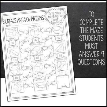 Surface Area Of Prisms Maze Worksheet By Amazing Mathematics Teachers Pay Teachers Maze Worksheet School Materials Amazing Mathematics Volume surface area worksheets