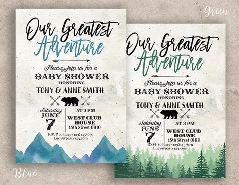 greatest adventure baby shower invitation, greatest adventure party invitation, You Are Our Greatest Adventure invitation, mountain invite