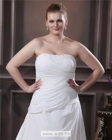 A-line+Strapless+Sweep+Bead+Chiffon+Plus+Size+Wedding+Dress