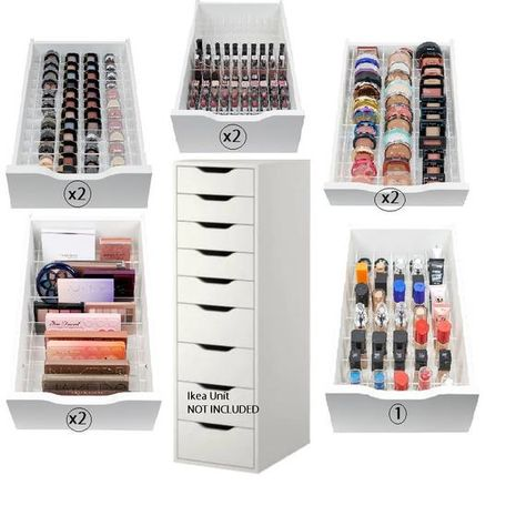 Description- 9 DRAWER DIVIDER PACK This pack is designed to be laid out in the IKEA Alex 9 Drawer unit NOTE - Makeup and drawers are not included. Dividers are shipped in acrylic strips that need to be assembled. Assembly is easy and straightforward. 9 Sets of Dividers are included to fill each of