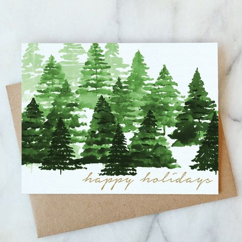 Happy Holidays Trees Card - Box Set of 6