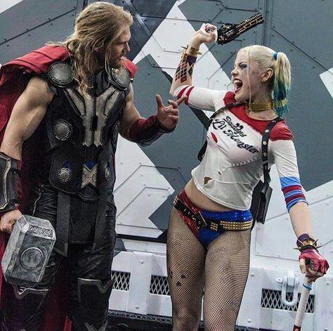 Behine the scenes BTS Thor Harley Quinn Chris Hemsworth Margot Robbie