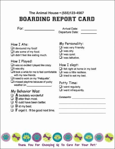 Dog Boarding Report Card Template New Doggy Report Card Future Kennels Pinterest Dog Boarding Facility Dog Daycare Business Dog Daycare