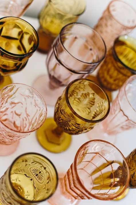 Amber and Pink Vintage Goblets from The Copper Quail - stunning! Vintage Dishes, Vintage Glassware, Vintage Colors, Vintage Pink, Bohemian Baby, Boho Baby Shower, Amber Glass, Colored Glass, Event Decor