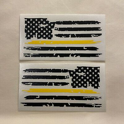 Set Of 2 Black Yellow 911 Dispatcher Distressed American Flag Decal Stickers Ebay In 2020 Flag Decal American Flag Decal American Flag