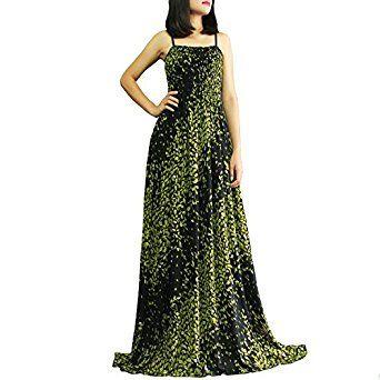 The WomenLand Women Plus Size Maxi Dresses Extra Long Green Black ...