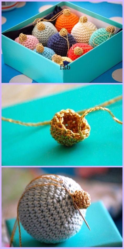 Crochet Christmas Bauble Ornament Free Patterns