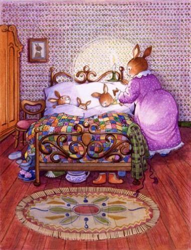 Grandma Bunny puts her wee ones snug in bed together. Susan Wheeler, Beatrix Potter, Lapin Art, Bunny Art, Children's Book Illustration, Whimsical Art, Animal Drawings, Cute Art, Illustrators