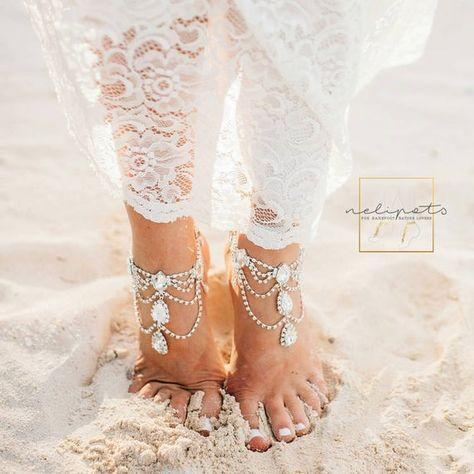 Rhinestone Anklet Bridal Barefoot Sandals Boho Slave Anklet | Etsy