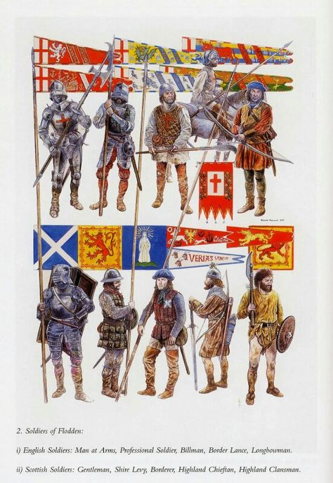 English and Scottish forces at the battle of Flodden.
