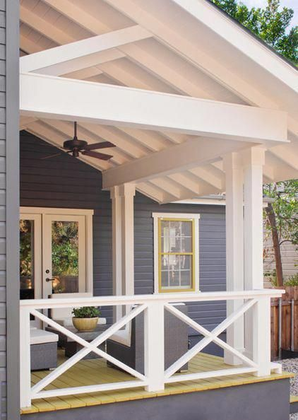 Diy Deck Railing Ideas Designs Pictures From Wood Metal Cable Alumunium Fiberglass Etc For Outdoor O House With Porch Porch Design Front Porch Decorating