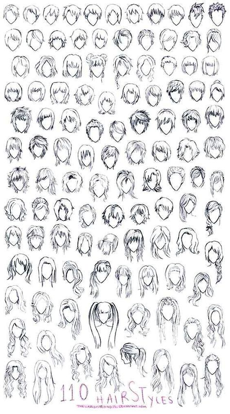 Drawings, manga, anime, hair, 110 designs to improve your design. Anime Drawings Sketches, Cool Art Drawings, Pencil Art Drawings, Manga Drawing, Anime Hair Drawing, Hair Drawings, Drawing Faces, Boy Hair Drawing, Anime Character Drawing