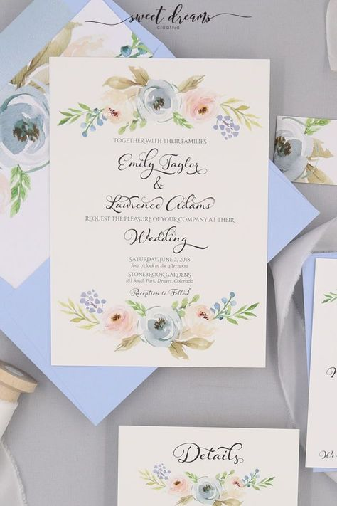 The Harper Light Blue wedding invitations are on point for 2019 wedding color trends. The suite features beautiful light blue and blush florals paired with greenery. These invites are perfect for a June or July wedding.