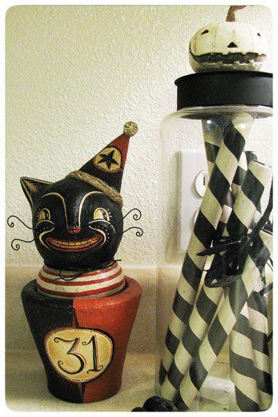 Cat with jar by Johanna Parker // vintage halloween decor