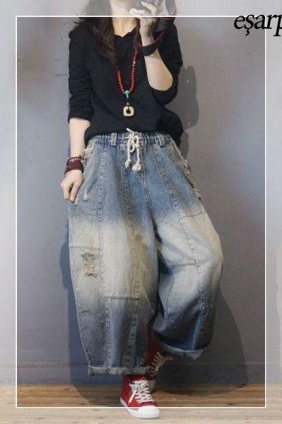 Koton Bayan Jean Pantolon Pantolon Tarz Moda Moda