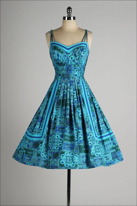 vintage 1950s dress . ALIX of MIAMI . shirred by millstreetvintage