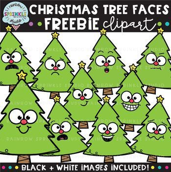Christmas Tree Faces Freebie Christmas Clipart Clip Art Clip Art Freebies Christmas Clipart