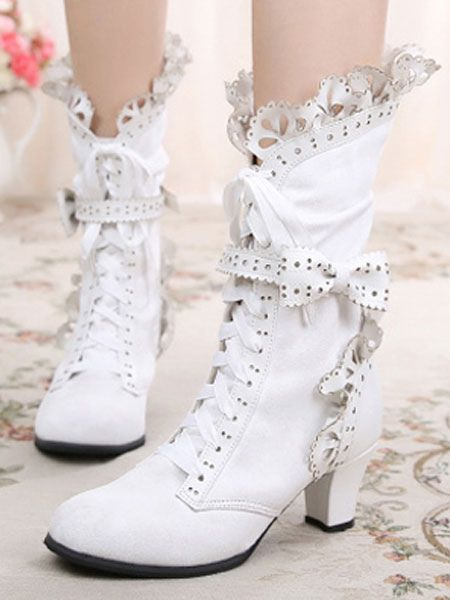 Rococo Lolita Ankle Boots Round Toe Prism Heel Lace Up Bows White Lolita Winter Booties - Women fashion clothing - 738484