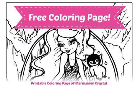 free printable mermaid coloring page  crystal